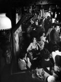 Inside a Crowded Pub with Couple Kissing, St. Germain Des Pres Fotografie-Druck von Gjon Mili