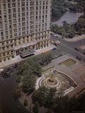 Aerial View of Fountain and Plaza Hotel Premium Photographic Print by Dmitri Kessel