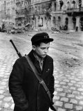 Boy Freedom Fighter Carrying Rifle During Hungarian Revolution Against Soviet Backed Government Photographic Print by Michael Rougier