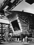 LST under Construction at Shipyard of the American Bridge Co Premium Photographic Print by Andreas Feininger
