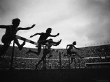 Action During the Women's 100M Hurdles at the 1952 Olympic Games in Helsinki Premium Photographic Print by Mark Kauffman