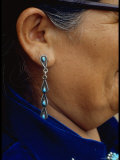 Close Up of Navajo Woman's Ear and Turquoise Earring Made by Native Americans Premium Photographic Print by Michael Mauney