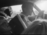 Senator Robert Kennedy Driving Car with Pet Springer Spaniel over His Lap and Son Max Beside Him Photographic Print by Bill Eppridge