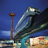 Monorail at Century 21, Seattle World&#39;s Fair. Space Needle in Background Photographic Print by Ralph Crane