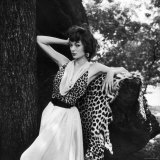 Model Displaying Leopard Print Dress Photographic Print by Nina Leen