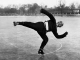 Elderly Chinese Man Ice Skating Premium Photographic Print by Jack Wilkes