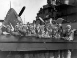 US Navy Pilots Give Grinning Group Portrait Across Tail of F-6F Hellcat on Board USS Lexington Photographic Print by Edward J. Steichen