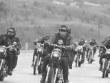 Hell's Angels Motorcycle Gang Riding in a Pack on the Road Photographic Print by Bill Ray