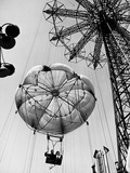 Couple Taking a Ride on the 300 Ft. Parachute Jump at Coney Island Amusement Park Photographic Print by Marie Hansen