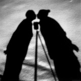 Shadows on Ground of Kissing Figures with Camera on Tripod Between Photographic Print by Alfred Eisenstaedt