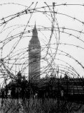 Big Ben and Houses of Parliament Behind Webbing of Barbed Wire, During WWII Premium Photographic Print