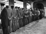 Hotel Porters Waiting For Zurich Arosa Train Arrival Premium Photographic Print by Alfred Eisenstaedt