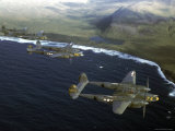 Excellent of a Squadron of American P-38 Fighters in Flight over an Aleutian Island Photographic Print by Dmitri Kessel