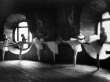 "Ballerinas at Barre Against Round Windows During Rehearsal For ""Swan Lake"" at Grand Opera de Paris Fotoprint van Alfred Eisenstaedt"