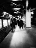 Commuters on New York New Haven Line Running to Catch Train Pulling Out of Grand Central Station Photographic Print by Alfred Eisenstaedt