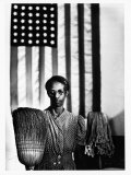 Ella Watson Standing with Broom and Mop in Front of American Flag, Part of Depression Era Survey Premium Photographic Print by Gordon Parks