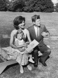 Portrait of Senator John F. Kennedy with Wife Jackie and Daughter Caroline Outside at Summer Home Premium Photographic Print by Paul Schutzer