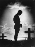 Silhouetted by Pacific Sunrise, Crosses Mark Graves of American Soldiers Who Gave Their Lives Premium Photographic Print