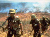 Line of Soldiers Marching Up Hill with Smoky Fires in Background, During Route 9 Offensive Premium Photographic Print by Larry Burrows