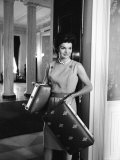 Jacqueline Kennedy in the Process of Redecorating the Blue Room of the White House Premium Photographic Print by Ed Clark