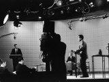 Presidential Candidates Senator John Kennedy and Republican Rep. Richard Nixon Debating Reproduction photographique par Paul Schutzer
