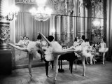 Ballerinas at the Paris Opera Doing Their Barre in Rehearsal Room Premium Photographic Print by Alfred Eisenstaedt