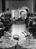 Ike Girls Applauding Campaign Speech by Vice President Richard Nixon Premium Photographic Print by Carl Mydans