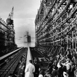 "Shipyard Workers Watching as the ""Bethlehem Fairchild"" Launches Into the Water Photographic Print by Marie Hansen"