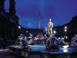 Fountains in the Piazza Navona at Night Photographic Print by Dmitri Kessel