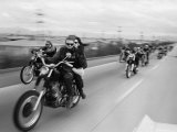 Hell&#39;s Angels Motorcycle Gang on the Road Photographic Print by Bill Ray