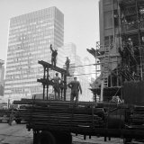 High Rise Construction of the Seagram Building on Park Avenue in Midtown Photographic Print by Margaret Bourke-White