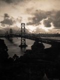 Atmospheric View of the San Francisco Oakland Bay Bridge Viewed from the Oakland Side at Dusk Photographic Print