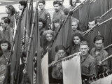 Communist German Youth Parade on Street Premium Photographic Print by Nat Farbman