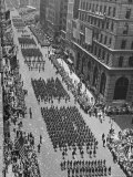 Columns of Us Soldiers Marching in Independence Day Parade Up Fifth Avenue Premium Photographic Print by Andreas Feininger