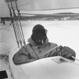 Sail Maker Howard Boston Sitting in His Craft at Northwest Ice Yacht Regatta Photographic Print by George Skadding