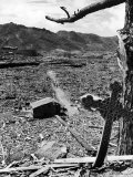 Cross Blown Out of Cathedral by Atomic Bomb Blast Overlooking the Total Devastation of the City Photographic Print by Bernard Hoffman