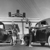 "Car Hop Girls at ""Heff's"" One of 15 or 20 Hop-Ins in Corpus Christi Photographic Print by John Phillips"