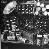 Phonograph Invented by Thomas A. Edison Sitting on Table with Boxes of Cylindrical Records Photographic Print by Walter Sanders
