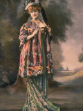 Mme. Charlotte Wiehe Modeling Green Robe du Soir Decorated with Roses and Manteau Japonais Premium Photographic Print by Felix