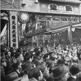 People Gathering in the Streets of Chinatown to Welcome Madame Chiang Kai Shek Photographic Print by Hansel Mieth