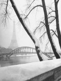 Heavy Snow Around the Eiffel Tower Photographic Print by Dmitri Kessel