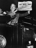 Victorious President Harry Truman Displaying Chicago Daily Tribune Headline, Dewey Defeats Truman Photographic Print by W. Eugene Smith