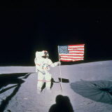 Astronaut Alan Shepard Planting American Flag on the Moon&#39;s Surface During Apollo 14 Mission Photographic Print