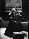 80 Year Old Street Musician Lylah Tiffany Playing the Accordion and Begging Outside Carnegie Hall Photographic Print by Alfred Eisenstaedt