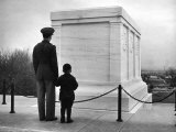 Captain Roger D. Reid Visiting the Unknown Soldier's Tomb with His Son Premium Photographic Print by George Strock