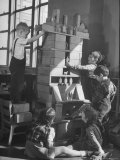 Children Building an Apartment House with Blocks Premium Photographic Print by Nina Leen
