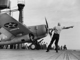 """Close Up of Fighter Plane Before Takeoff from Flight Deck of Aircraft Carrier """"Enterprise"""" Photographic Print by Peter Stackpole"""