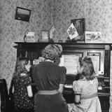 Patricia Colleen Altree Playing the Piano with Her Two Sisters Photographic Print by J. R. Eyerman