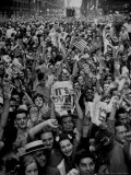 Jubilant Crowd Screaming and Flag Waving as They Mass Together During Vj Day Celebration, State St Photographic Print by Gordon Coster
