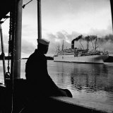 "Sailor Watching Us Army Troop Ship ""Republic"" Passing Through the Panama Canal Photographic Print by Thomas D. Mcavoy"